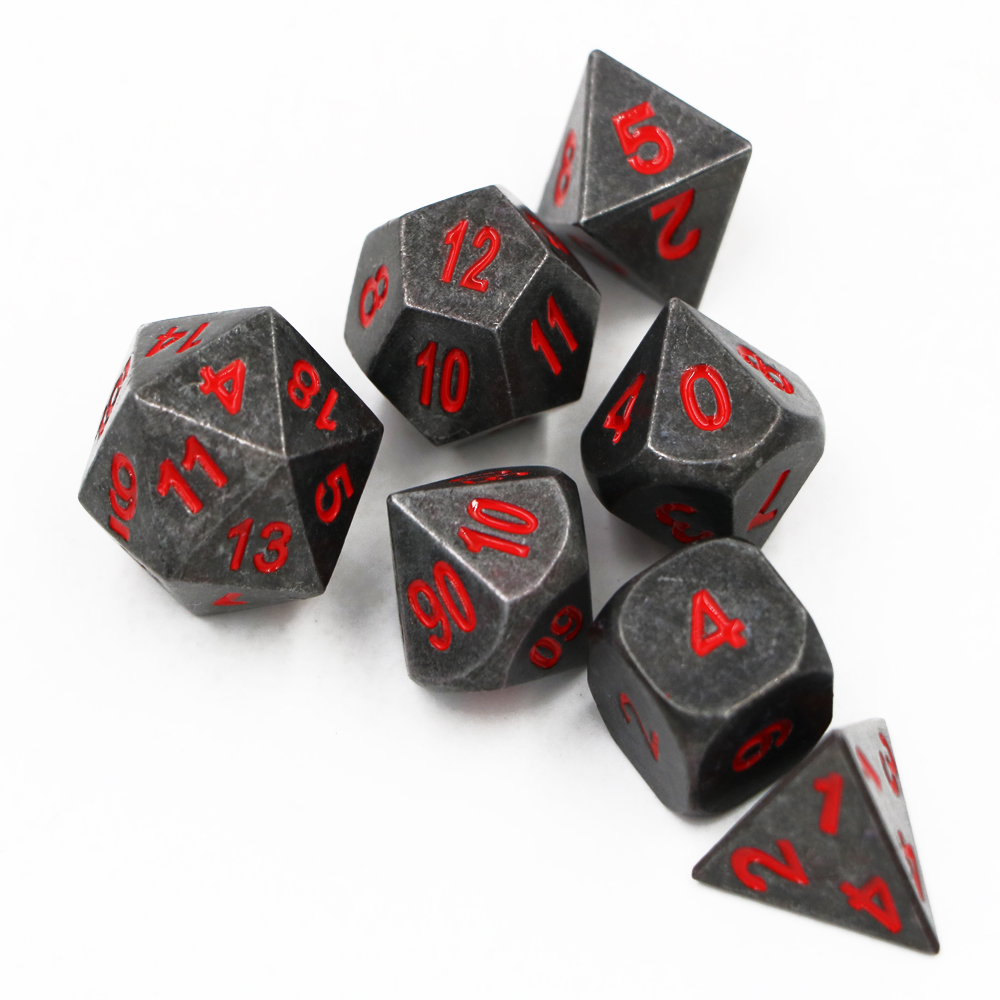 7 pçs/set Clássico Jogo DND Dice Dice RPG D & D Dados Do Metal Conjunto Chapeamento Preto D4 D6 D8 D10 d12 D20 dados Poliédricos