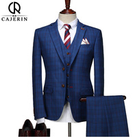 Cajerin Men S Clothing Two Button Men Suit Jacket Pants Vest Blue Lattice Blazer Widding Suits