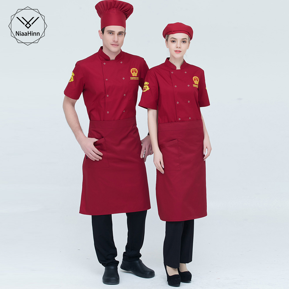 New Summer Short-sleeved Breathable Red Chef Jacket Restaurant Hotel Cook Suit Man Woman Work Wear Food Service Hotel Uniform