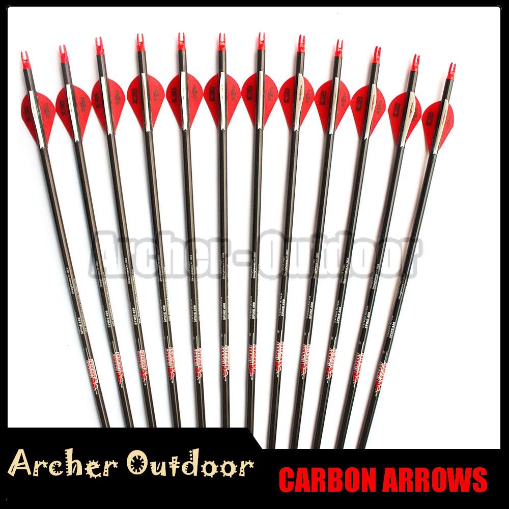 12Pcs Linkboy Archery Pure Carbon Arrow Spine 300 340 400 500 600 ID 6 2mm 2inch