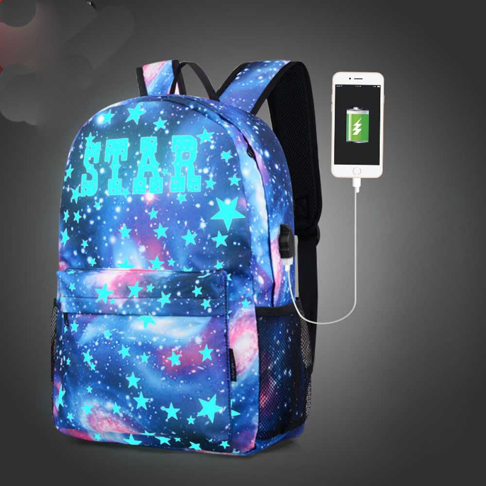 Galaxy School Bag Backpack Collection Canvas USB Charger For Teen Girls Boy Kids