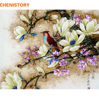CHENISTORY Frameless Picture Birds Flowers DIY Painting By Numbers Home Wall Artwork Hand Painted Oil Painting
