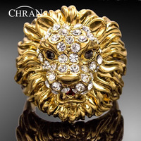 Wholesale 18K Gold Plated Unisex Rhinestone Crystal Exaggerated Ring For Men And Women Lion Jewelry Accessories