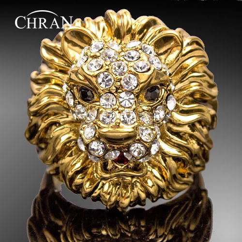 Chran New Wholesale Gold Color Unisex Rhinestone Crystal Exaggerated Ring For Men and Women Lion Jewelry