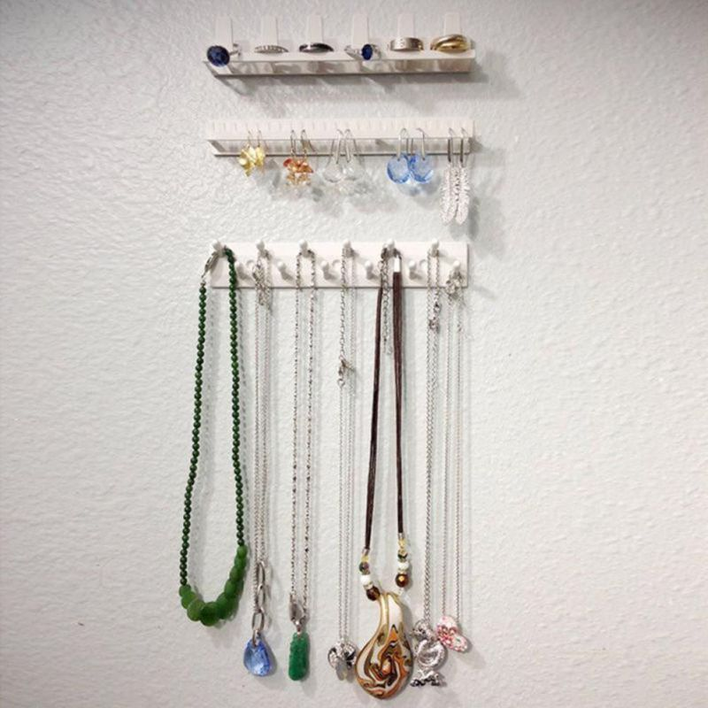 9PCS/Set Adhesive Jewelry Holder Packaging Display Jewelry Rack Sticky Hooks Earring Necklace Hanger Organizer Wall Mount White(China)
