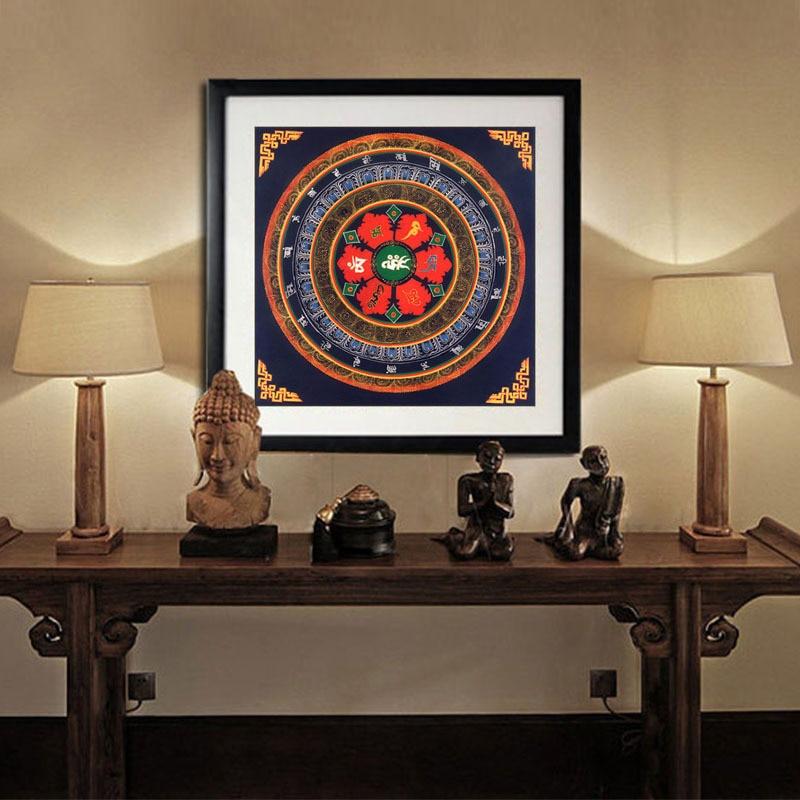 Tibet Thangka Art Painting Printed Home Decor Tibetan Mandala Faith Buddha Oil Canvas Wall In Calligraphy From Garden On