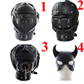 Sexy Leather Padded Masks Hoods,Sex Adult Products Fetish Head Bondage Hood Restraints Cosplay Slave Mask Sex Toys For Couples