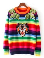 FinalFit Women Sweater Rainbow Stripe Floral Animal Tiger Embroidery Wool Knitted Sweater Women Pullovers Chandail Pull Femme