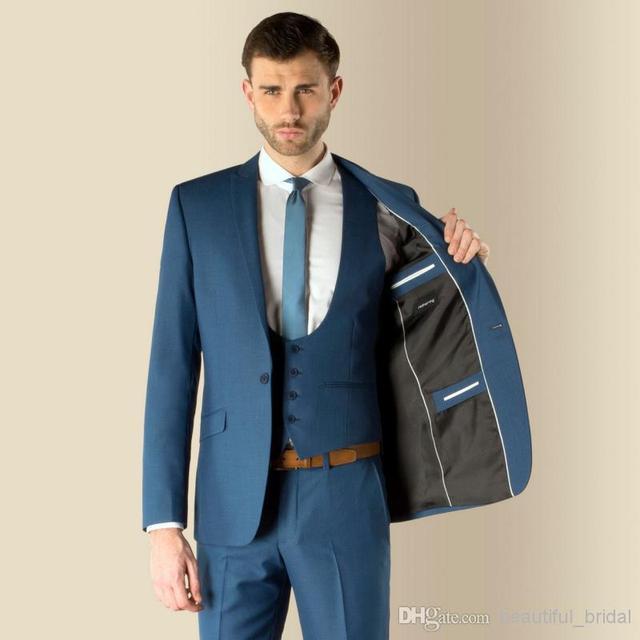 2017 Dernière Manteau Pantalon Designs Bleu Hommes Costume Formel Maigre  simple smoking de bal gentle blazer 48a9e72a64c