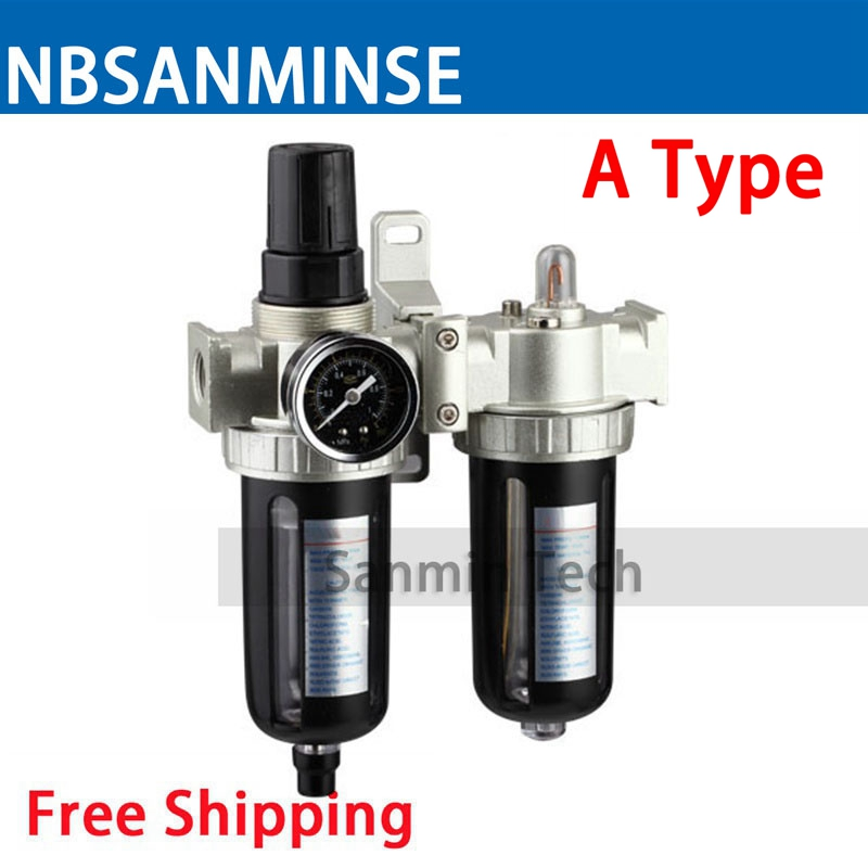 SFC200 1/4 3/8 1/2 Two Units Air Filter Regulator Lubricator Air Compressor Filter Regulator Sanmin Air Preparation Units