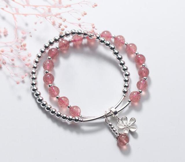 100% Authentic Real. 925 Sterling Silver Jewelry Double rows Natural Rose Starwberry Quartz Stone &beads flower Bracelet GTLS745