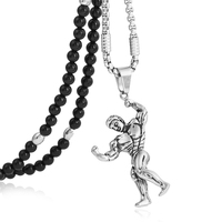 BLEUM CADE Stainless Steel Muscle Men Bodybuilding Workout Pendant Necklace with Black Natural Agate Stone Chain 26