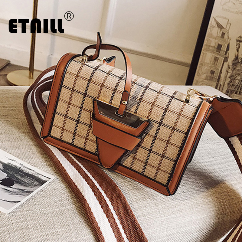 ETAILL Winter Checked Canvas Pu Leather Bag Stripe Wide Strap Single Shoulder Bag England Plaid Crossbody Bags Small Fashion Bag