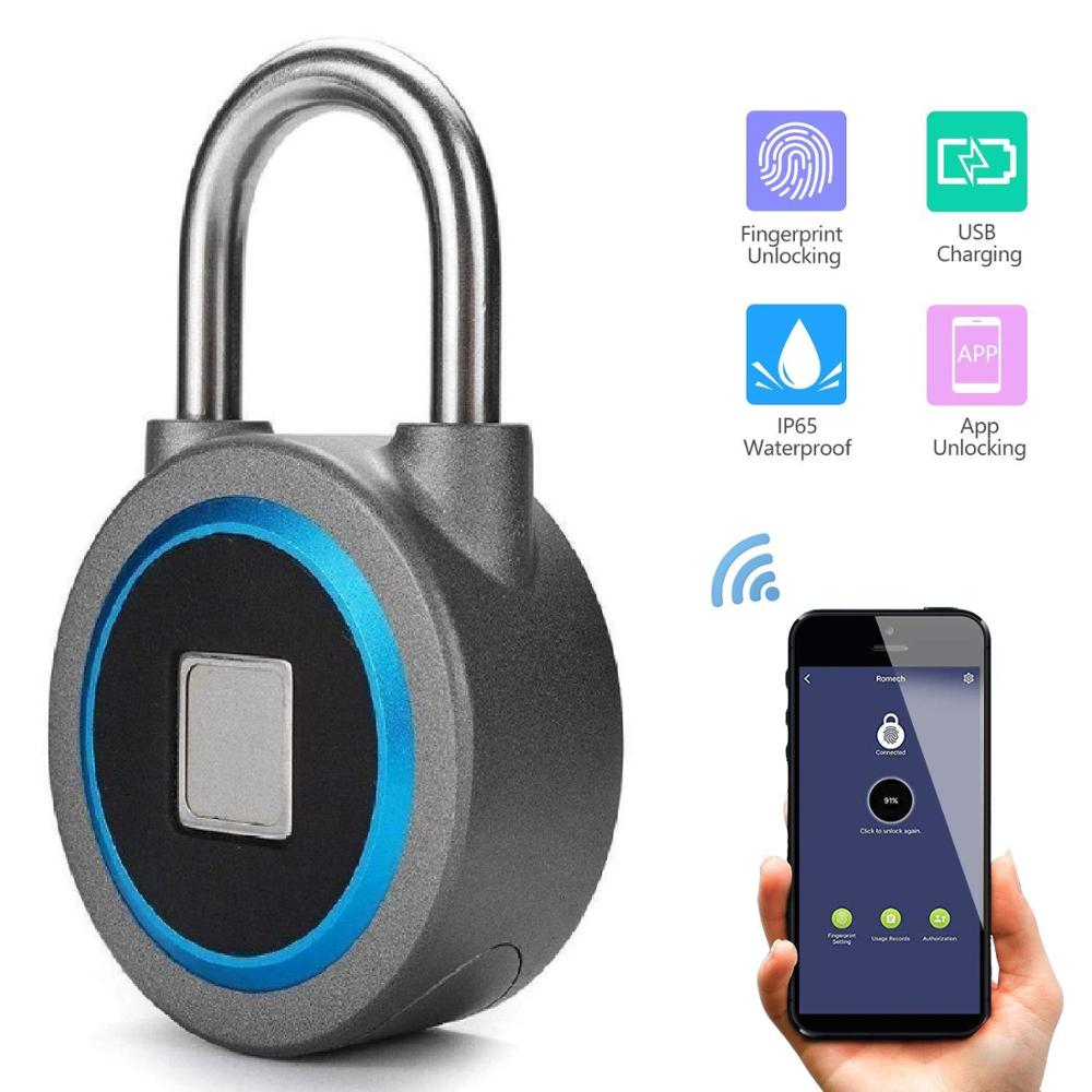 Electric Lock Fingerprint Padlock –2nd Gen Smart Lock Bluetooth Remote Control Biometric Lock For School,outdoor,gym,suitcase