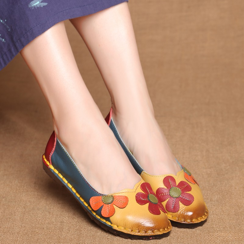 2018 Summer Autumn Fashion Flower Design Round Toe Mix Color Flat Shoes Vintage Genuine Leather Women Flats Girl Loafer front lace up casual ankle boots autumn vintage brown new booties flat genuine leather suede shoes round toe fall female fashion