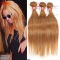 """Honey Blonde Hair Brasileño 3 Bundles 27 # Color Brasileño Recto Armadura Del Pelo 7A Virgen Del Pelo Humano 10 """"-24"""" en Stock"""
