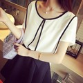 Women Chiffon Short Sleeve Blouses White&Black Shirt ONeck 2016 New Pullover Patchwork Korean Fashion Office Female Tops S-XL C2