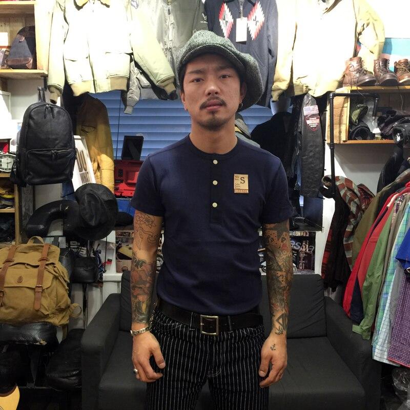 BRONSON Henley szyi koszulka męska bawełniana koszula męska koszulka z krótkim rękawem Slim Fit topy na co dzień w stylu Vintage ubrania stały kolor w Koszulki od Odzież męska na AliExpress - 11.11_Double 11Singles' Day 1