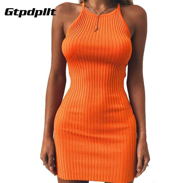 384f3e5695 US $6.99 30% OFF|Gtpdpllt Summer Dress Women Solid Sexy Dress Sleeveless  Bodycon Beach Dress Women Plus Size Dresses Party Vestidos-in Dresses from  ...