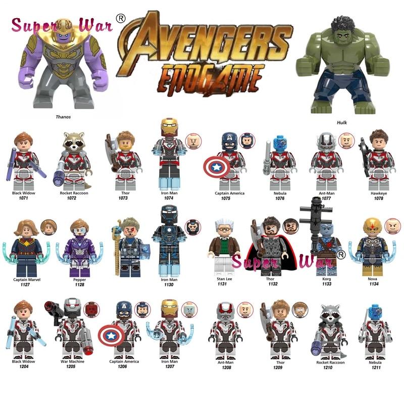 Single Super Hero New Thanos Big Size Marvel Avengers Infinity War Hulk Avengers 4 Endgame End game building blocks Kids Toys hatsune miku winter plush doll