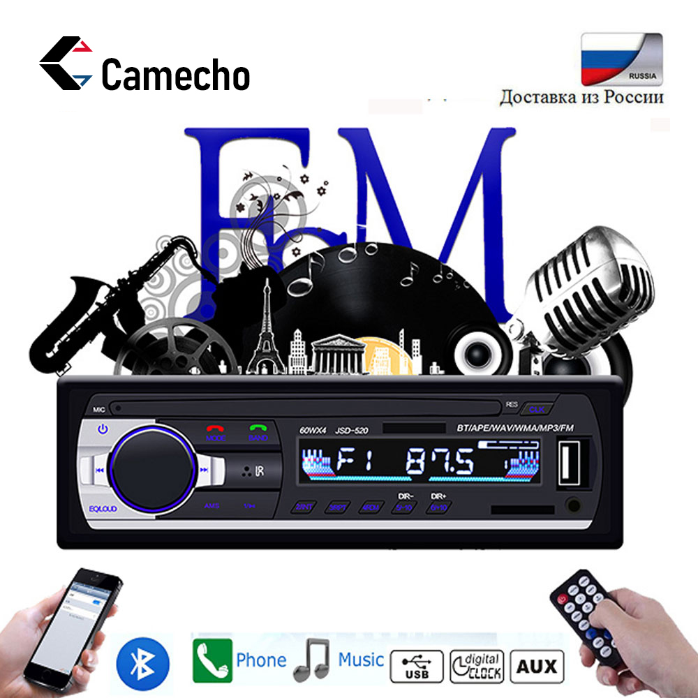 Camecho 1din Auto Radio 12V Aux/FM/USB Car Radio  Bluetooth Phone Autoradio MP3 Audio Player 2.5 Inch Remote Control  Car Stereo