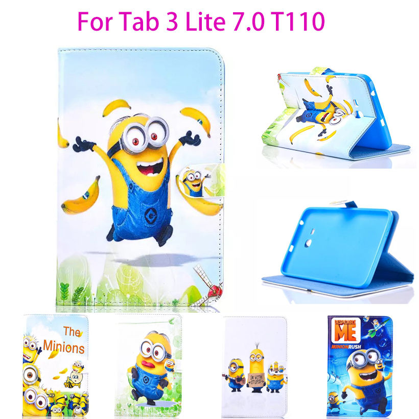 Tablet Case For Samsung Galaxy Tab 3 Lite 7.0 T110 T111 T115 T116 Cover Cartoon Series Despicable Me Minion Stand Leather Funda