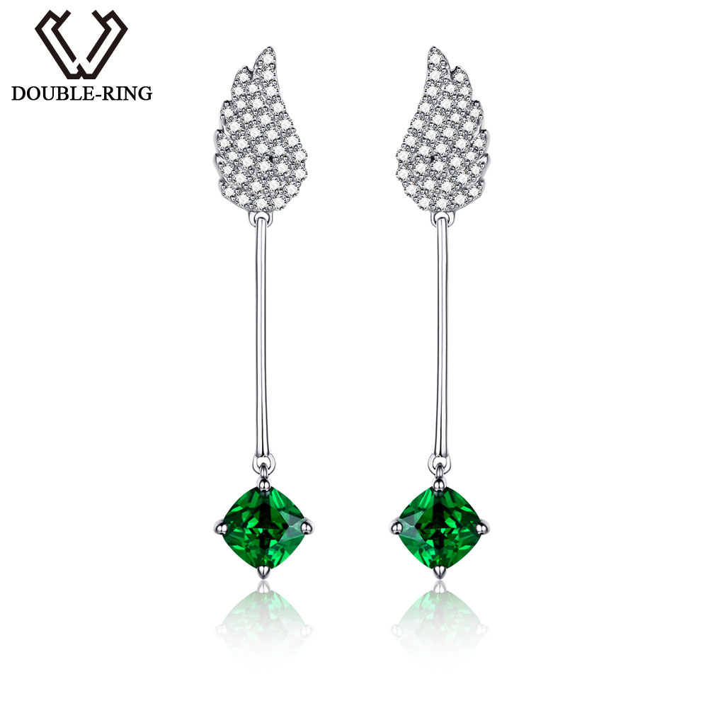 DOUBLE-R Earrings For Girls Real 925 Sterling Silver Earring With Created Emerald Gemstone Jewelry