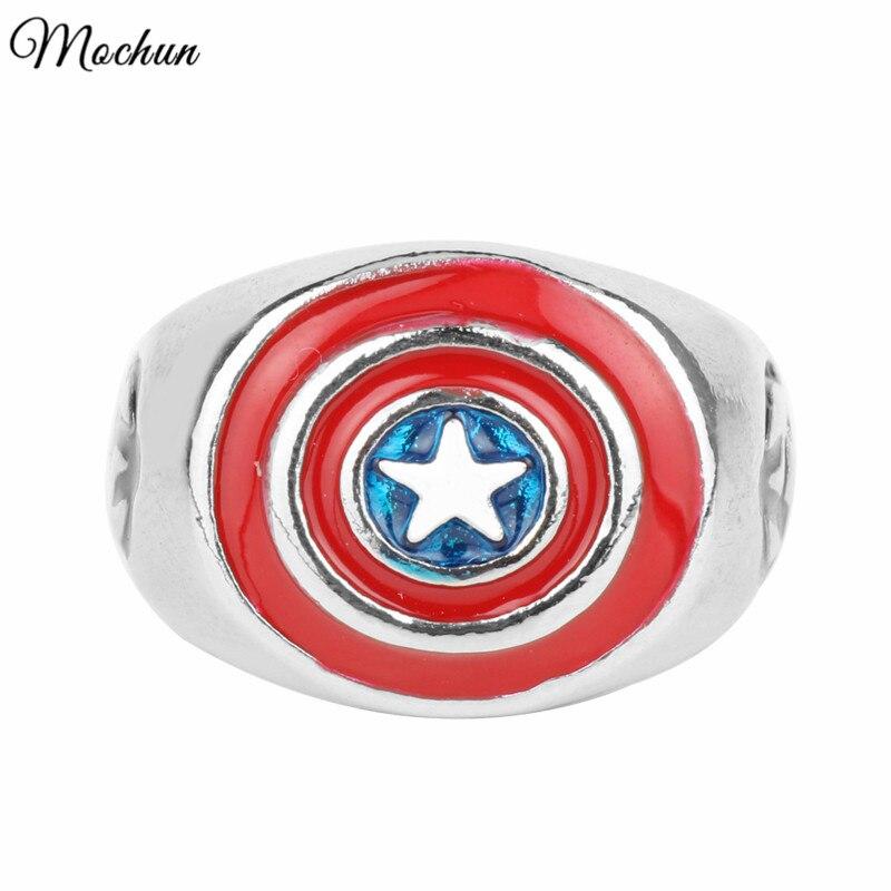 MQCHUN Marvel Comics Super Heroes Captain America Symbol Shield Signet Ring Fashion Enamel Rings Mens Birthday Xmas Gift