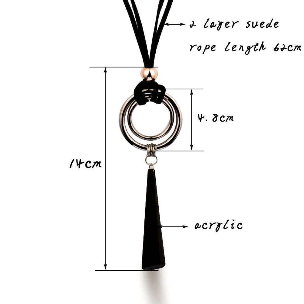 SINLEERY Vintage Gothic Black Suede Leather Long Rope Necklace para - Bisutería - foto 6