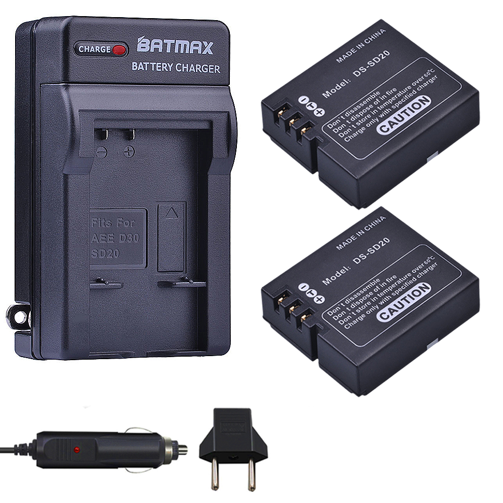 2Pcs DS-SD20 SD20 DS SD20 Batteries+ Wall Charger Kits for Rollei 3S 4S 5S ActionPro SD20F WiF Rollei 3S Action Sports Cameras2Pcs DS-SD20 SD20 DS SD20 Batteries+ Wall Charger Kits for Rollei 3S 4S 5S ActionPro SD20F WiF Rollei 3S Action Sports Cameras