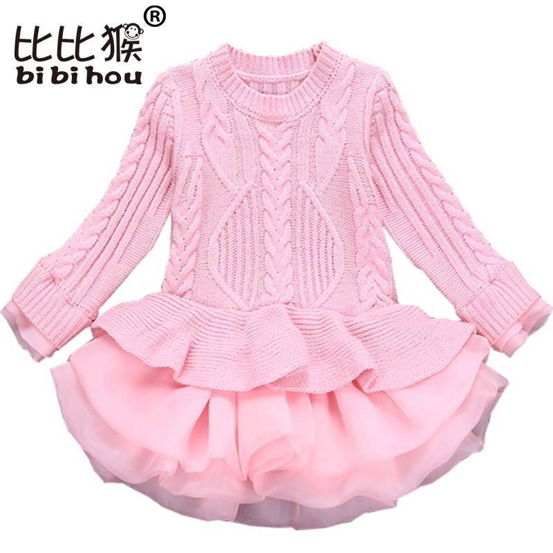 Bibihou Girl Winter Dress 2017 Fashion Spring Autumn Princess Girl Long Sleeve Sweater TuTu Dress Kid Christmas Dresses For Girl autumn winter female long wool knitted dresses turtleneck slim lady accept waist package hip pullovers sweater dress for women