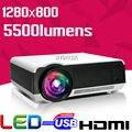 La luz del día de Cine En Casa HD 1280x800 5500 Lúmenes 720 P 1080 P lEd86 HD Video HDMI USB LCD Trasera LED Proyector Proyector Beamer