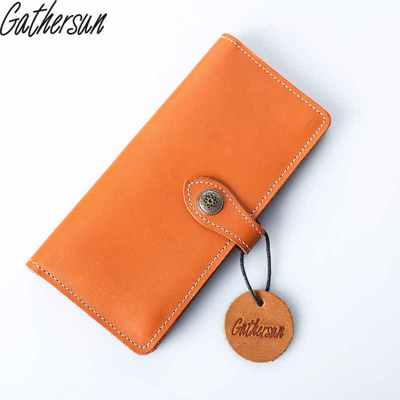2017 Limited Promotion Gathersun Brand 100% High Quality Leather Unisex Long Handmade Wallet Genuine Vintage Style Hhandbag gathersun brand handmade 2017 original design genuine leather men wallet vintage style large capacity long purse clutch wallet