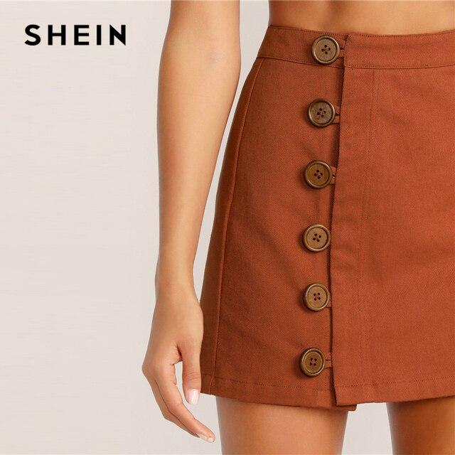 SHEIN Button Front Skirt Korean Style Brown High Waist A Line Skirt 2019 Spring Summer Women Mini Skirt 3