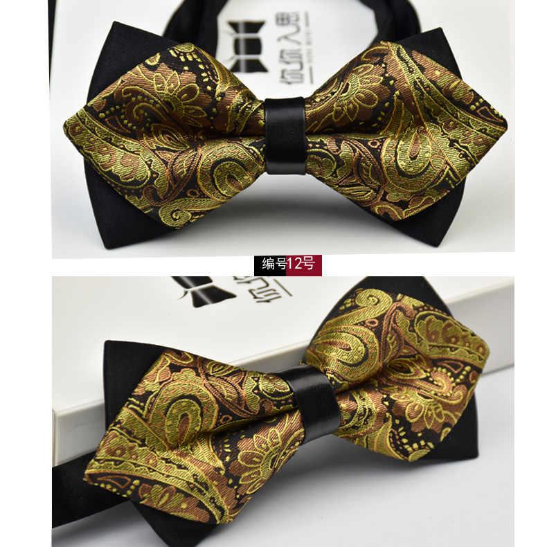 3c991b26d0e8 Wholesale Adjustable Luxury Men's Bow tie Arrow 2 Layers Plaids Striped  Floral Bowtie Tuxedo Neckties Wedding