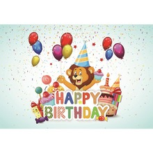 Laeacco Balloons Baby Birthday Party Gift Lollipops Poster Cartoon Portrait Photo Background Photography Backdrops Studio
