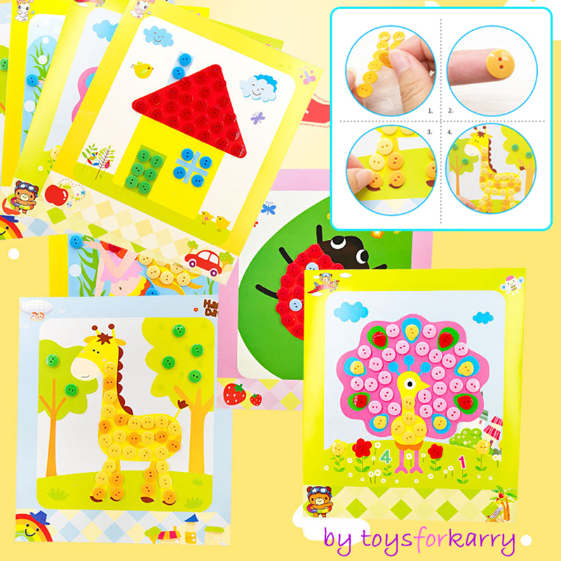 Kids DIY Button Stickers Drawing Toys Funny Game Handmade