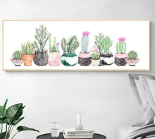 Watercolor Plant Potted Cactus Succulents Unframed Modern Art Poster Print Canvas Painting Wall Decor For Room