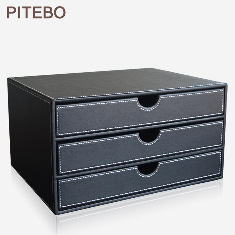 PITEBO a4 3-drawer wood leather office desktop file cabinet box document filing holder organizer stand containerPITEBO a4 3-drawer wood leather office desktop file cabinet box document filing holder organizer stand container