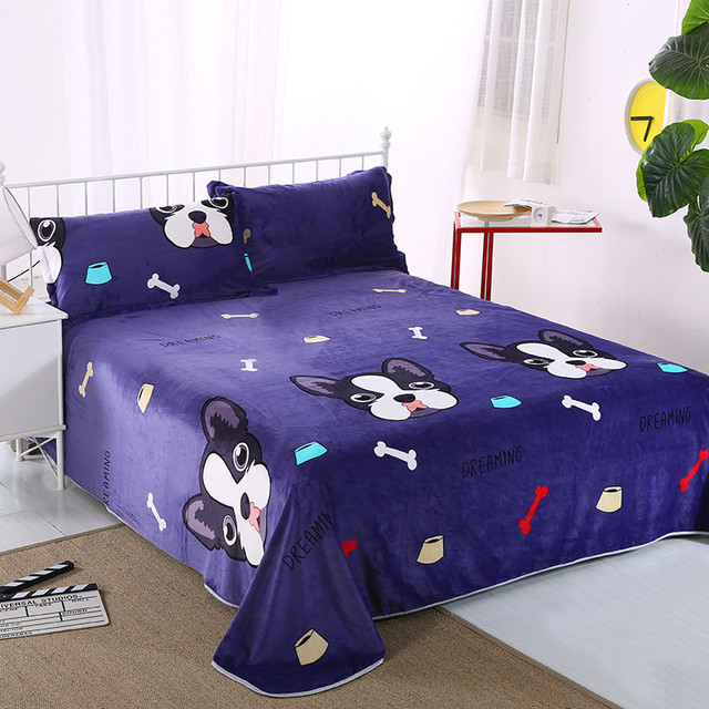 1PC 100% Polyester Flat Sheet Thick Flannel Bed Sheets For Autumn Winter  Cute Dog Printed