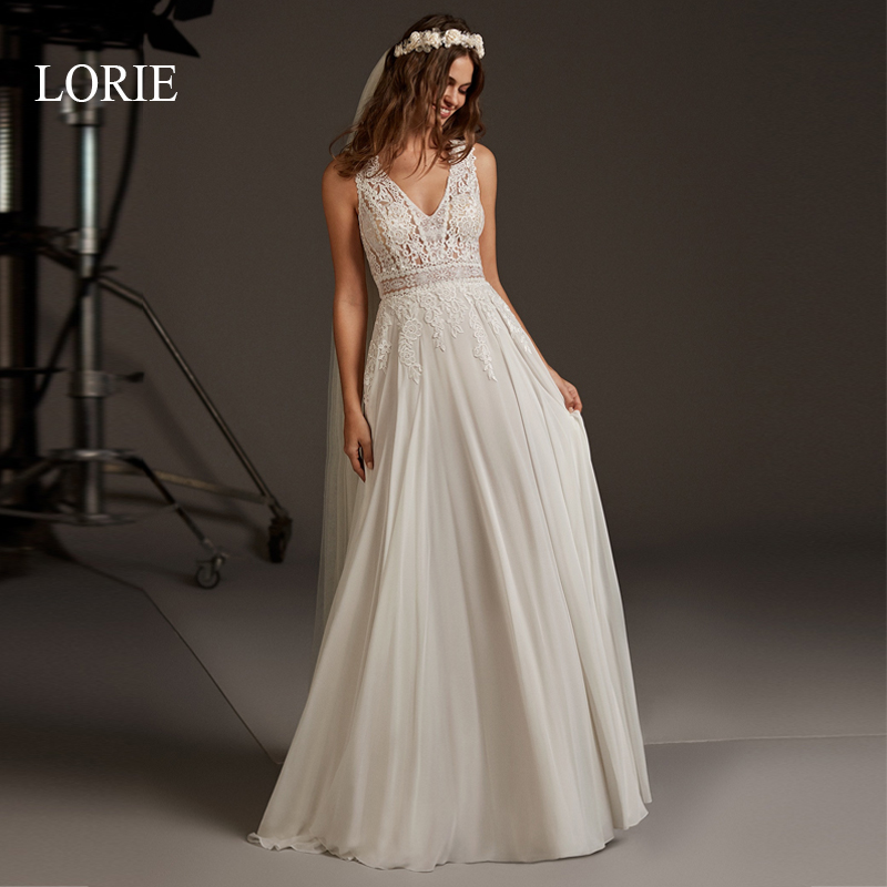 LORIE A-Line Wedding Dress Lace Appliqued Cut-out Backless Chiffon Bridal Gown 2020 V-neck Wedding Party Dress Vestido De Noiva