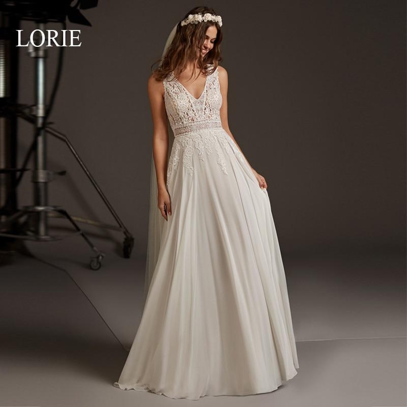 LORIE A-Line Wedding Dress Lace Appliqued Cut-out Backless Chiffon Bridal Gown 2020 V-neck Wedding Party Dress Vestido De Noiva