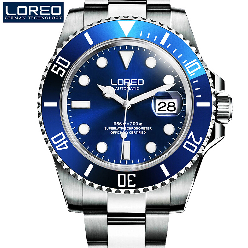 High Quality LOREO Men Watches Top Brand Luxury Sapphire 200m Waterproof Military Watches Men Automatic Mechanical Wrist Watches loreo black genuine leather 200m diving military mechanical luxury men sports watches fashion automatic wristwatches male