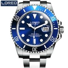 Hohe Qualität LOREO Männer Uhren Top-marke Luxus Sapphire 200 mt Wasserdichte Militäruhren Männer Automatische Mechanische Armbanduhren