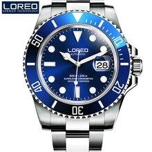 Yüksek kaliteli LOREO erkekler saatler üst marka lüks safir 200m su geçirmez askeri saatler erkekler otomatik mekanik bilek saatler