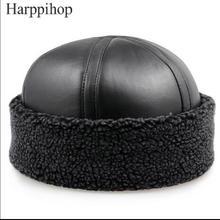 2017 Новые люди и женщины натуральной овчины Шапочка шляпы Черный Овчины теплые меховые шапки шляпы подарок для мамы бесплатная доставка
