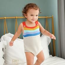 Summer Baby Boys Bodysuit Raninbow Knit Newborn Infant Girls Onesie Sleeveless Bebe Coveralls One Piece 2019 Childrens Costumes