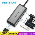 Vention Thunderbolt 3 док-станция USB 3 0 Type C к HDMI USB Hub RJ45 адаптер для MacBook Pro Huawei P30/P20 Samsung usb c адаптер Новый