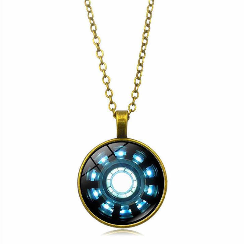 Горячая Железный человек дуговой реактор хрустальный стакан Круглый Подвеска на серебряной цепочке ожерелье доказательство, что у Тони Старка есть сердце ювелирные изделия сувенир