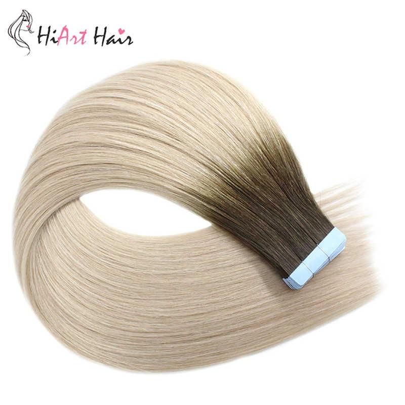 """HiArt волосы для наращивания на ленте, 100% натуральные человеческие волосы remy, 2,5 г/шт., для салона, балаяж, лента натуральные волосы, двойные прямые волосы, 18 """"20"""" 22"""""""